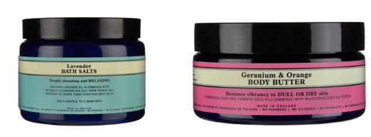 Geranium&Orange body butter, sel de bain lavande